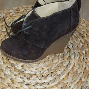 Enzo brown suede wedge ankle boot tie